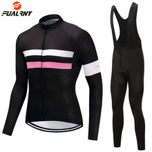FUALRNY 2019 Men Women Long Sleeve Cycling Clothing Set Mtb Road Mountain Bike Cycling Jersey Bib Pants Set with 9D Gel Padded цена