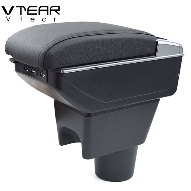 Vtear For renault duster accessories armrest USB interface arm rest Center Console car styling leather Storage Box interior 2018