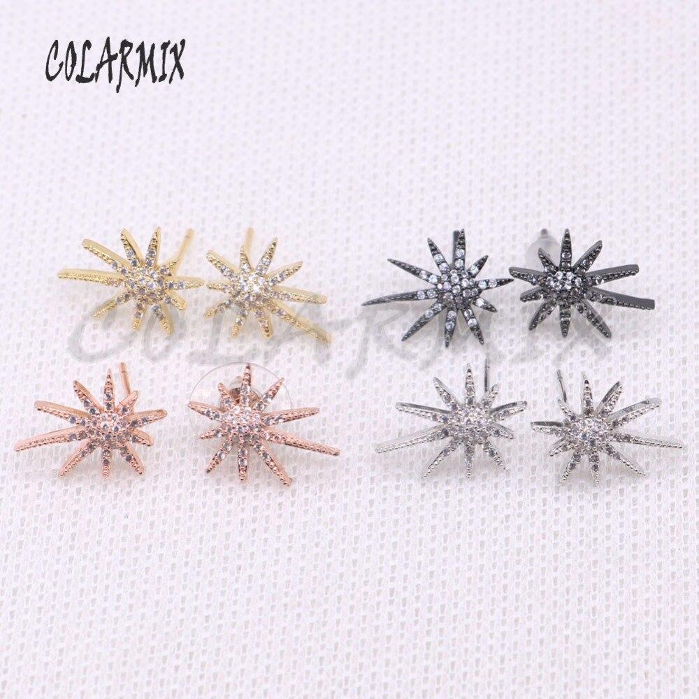 10 pairs stud earrings accessories micro paved zircon earrings bling druzy earrings handcrafted gem jewelry for