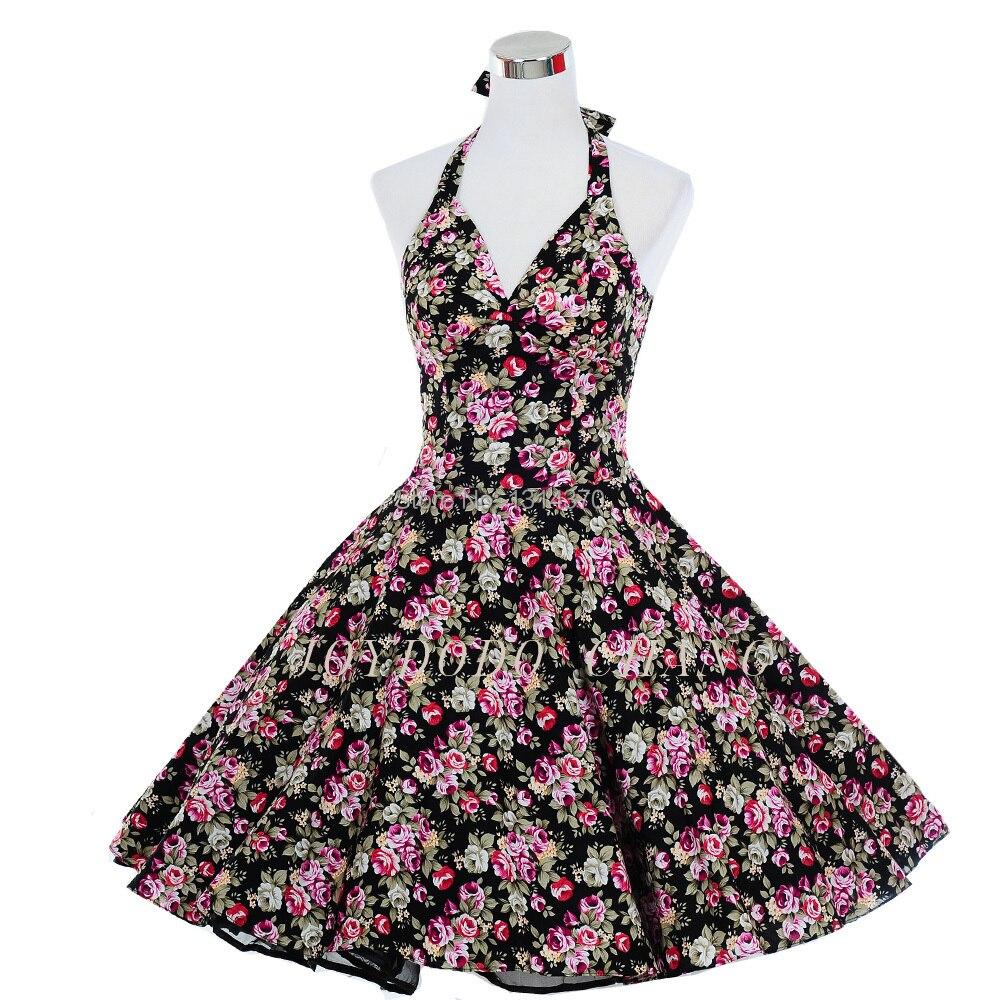Pinup 50s 60s Velká houpačka Ročník Rockabilly šaty Polka Dot Tištěné Květinový ples šaty Prom Party Šaty Vestido