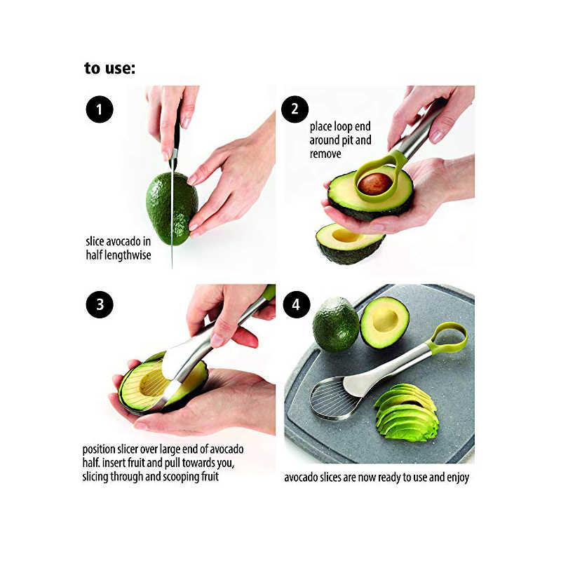 Rebanador de aguacate de acero inoxidable, rallador 2 en 1 de fruta y vegetales, accesorios ingeniosos de cocina multifuncionales creativos