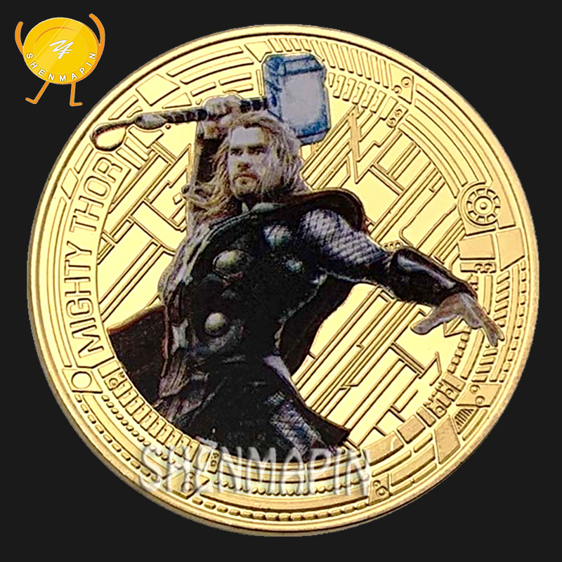 Thor Commemorative Coin Avengers Marvel Movie Coins Collectibles Children's Cartoon Animation Toy Birthday Gift Thor's Hammer