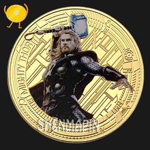 Thor Commemorative Coin Avengers Marvel Movie Coins Collectibles Childrens Cartoon Animation Toy Birthday Gift Thors Hammer