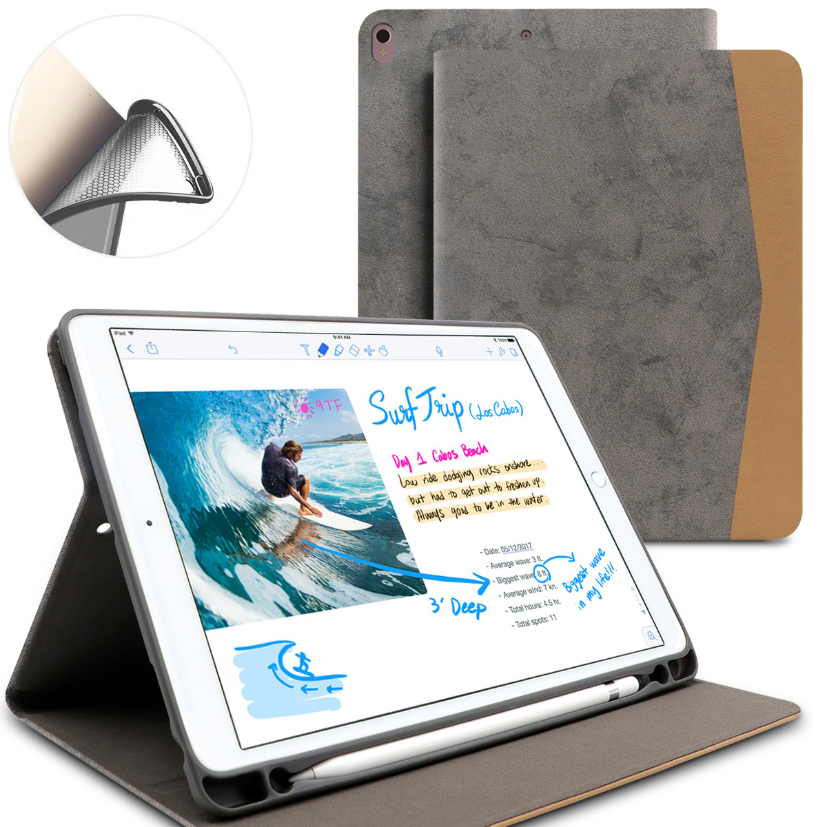 Smart PU Leather Cover With Pencil Holder Auto Sleep/Wake Soft Case For Ipad Pro 10.5 Inch ( 2017 New )