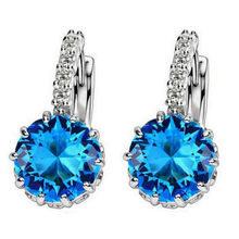 11.11 Hot Sea Is Blue Luxury Ear Dangle Drop Earrings For Women Round With Cubic Zircon Charm Flower Earrings Women Jewelry(China)