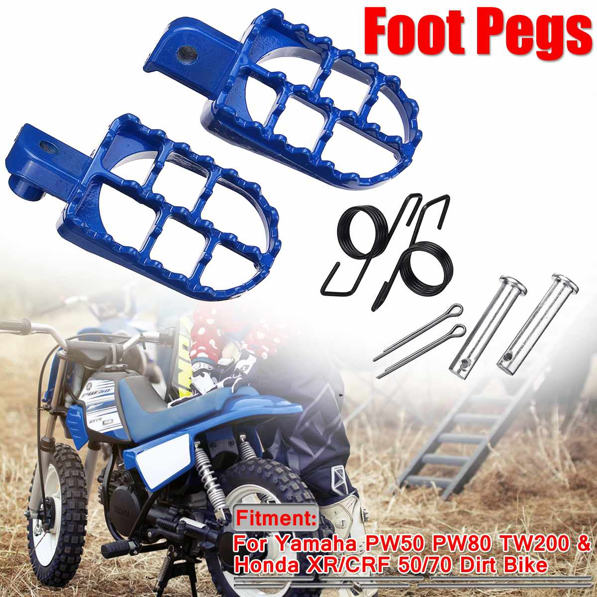 Universal 2pcs Motorcycle Foot Pegs Pit Dirt Bike Motorbike Foot Rests footrest For Yamaha PW50 PW80 TW200 For Honda <font><b>XR</b></font>/CRF image