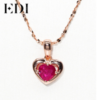 EDIธรรมชาติทับทิมหัวใจจี้สร้อยคอวาเลนไทน์ที่สวยหรู14พัน585 Rose G Oldแท้สีแดงพลอยจี้เครื่องประดับส...