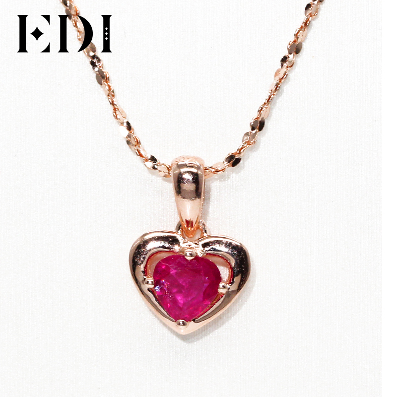 EDI Natural Ruby Heart Pendant Necklace Valentine Exquisite 14K 585 Rose Gold Genuine Red Gemstone Pendant Jewelry For Women 14k enamel heart angel pendant jewelryweb