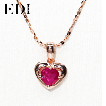 EDI Natural Ruby Heart Pendant Necklace Valentine Exquisite 14K 585 Rose Gold Genuine Red Gemstone Pendant Jewelry For Women men beaded bracelet red