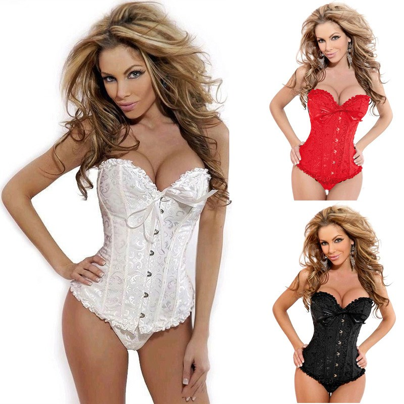 2019 Satin Bone Lace Up Steampunk   Corset   Sexy Women   Bustier   Corselet   Corset   Bow Overbust Strapless Slim   Bustier     Corset   Plus Size