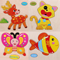 Educational Toys Animal Wooden Puzzle Baby Animals Shapes Jigsaw 3D Puzzles Gifts For Children Kids Toy Puzzle Perler Bead Board