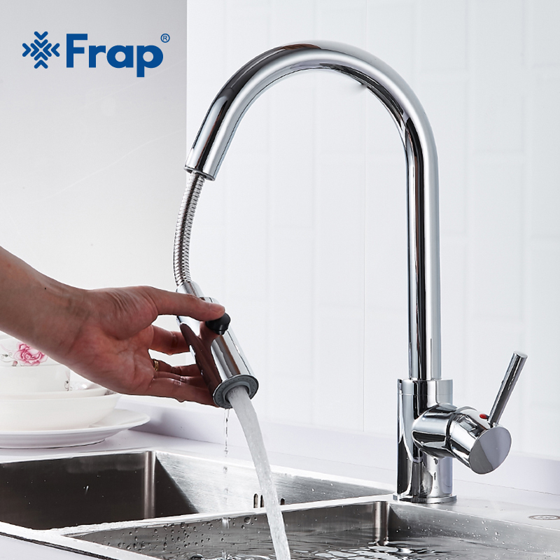 Frap Silver Pull-out Kitchen Faucet Brass Single Handle Chrome 360 Rotation Two Ways Water Outlet Multifunctional Faucet Y40076