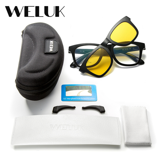 7f92f65b8af5 WELUK Transparent Tr90 Square Magnet Sunglasses Clip Men Night Driving  Magnetic Mirrored Clip on Sun Glasses Myopia Eyeglasses