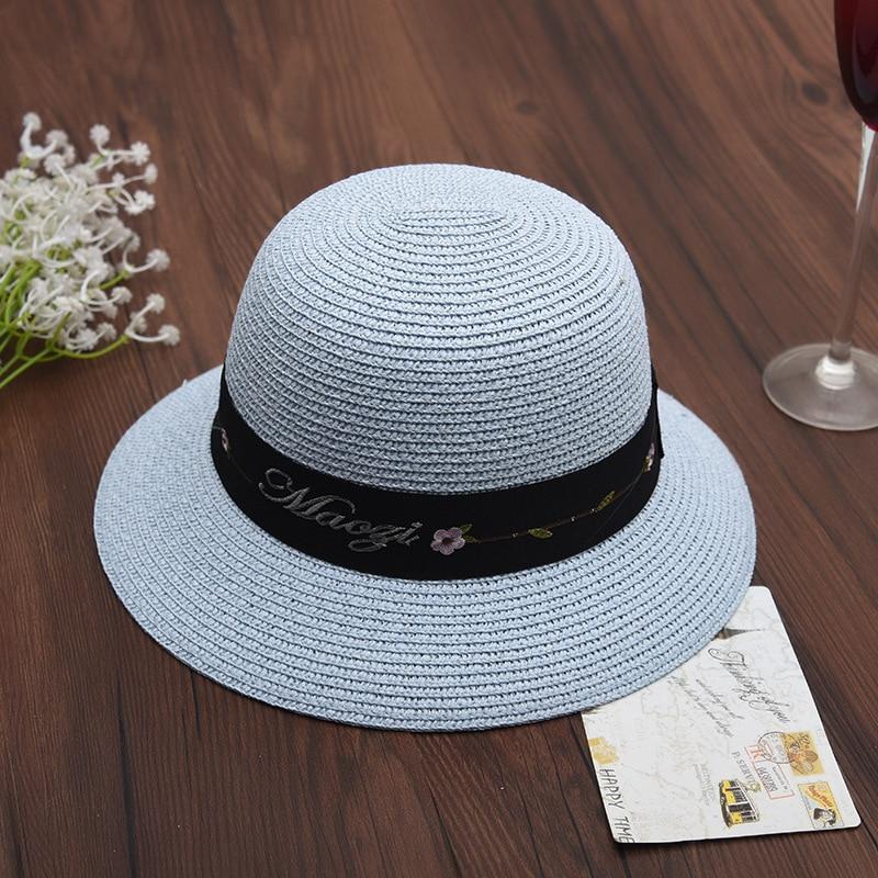 203ac9f2 Myelo Hot Summer Women Boater Beach Hat Female Casual Panama Hat Lady Flat  Printing Rose Flower Black lace Straw Sun Hat Women