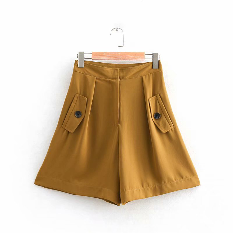2019 Za Brown Fashion Women   Short   Pants Female Adjustable Elastic High Waist Loose   Shorts   spodenki damskie   short   feminino