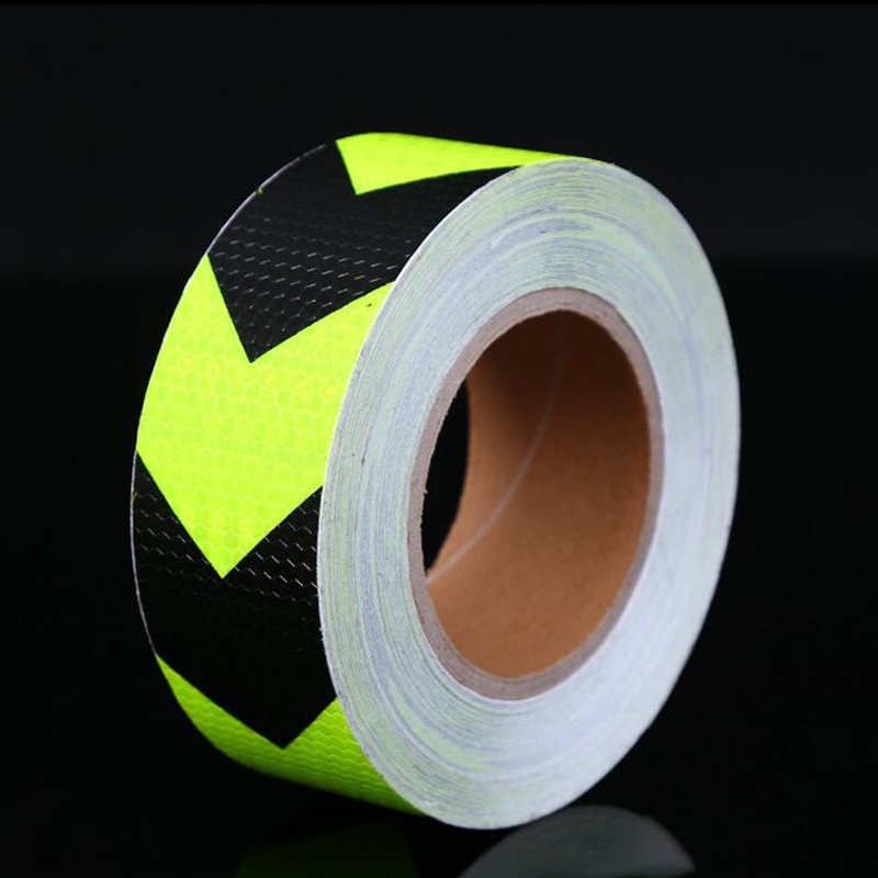 Купить с кэшбэком 5cm width Fluorescent Yellow Safety Mark Reflective tape stickers car-styling Self Adhesive Warning Tape