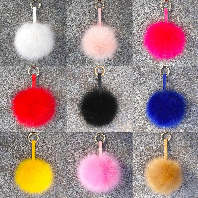 Fofo Falso Pele De Raposa Bola Chaveiro Real Fox Fur Keychain 13 cm Pompom Chaveiro Chaveiro Saco Pendente do Encanto Das Mulheres