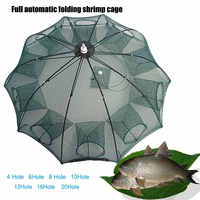 Hand Throwing Fishing Net Holes Portable Folded Automatic Catch Fish Baits Trap For Fishes Shrimp Minnows Crab Cast Mesh Net