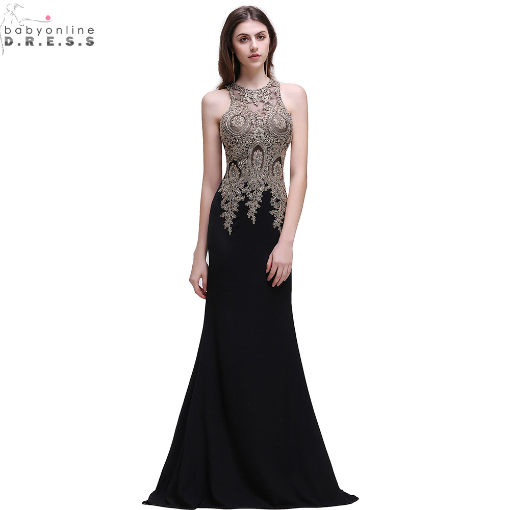 Robe de Soiree Longue Cheap Black Lace Mermaid Long Evening Dress Sexy Sheer Appliques Embroidery Evening