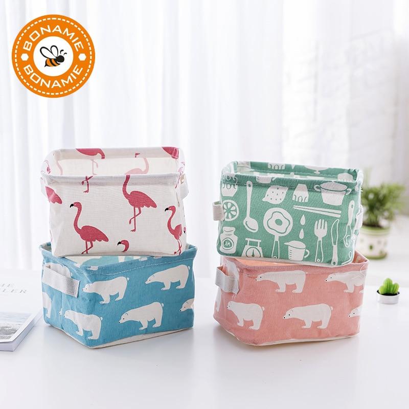 BONAMIE Container Foldable Flamingo Sundries Cosmetic Bag Organizer Toy Storage Basket Desktop Jewelry Makeup Bags
