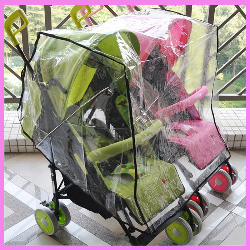 Twin Baby Stroller Rain Cover Universal Double Stroller Rain Cover Umbrella Cart Windshield Waterproof Rain Cover for Stroller