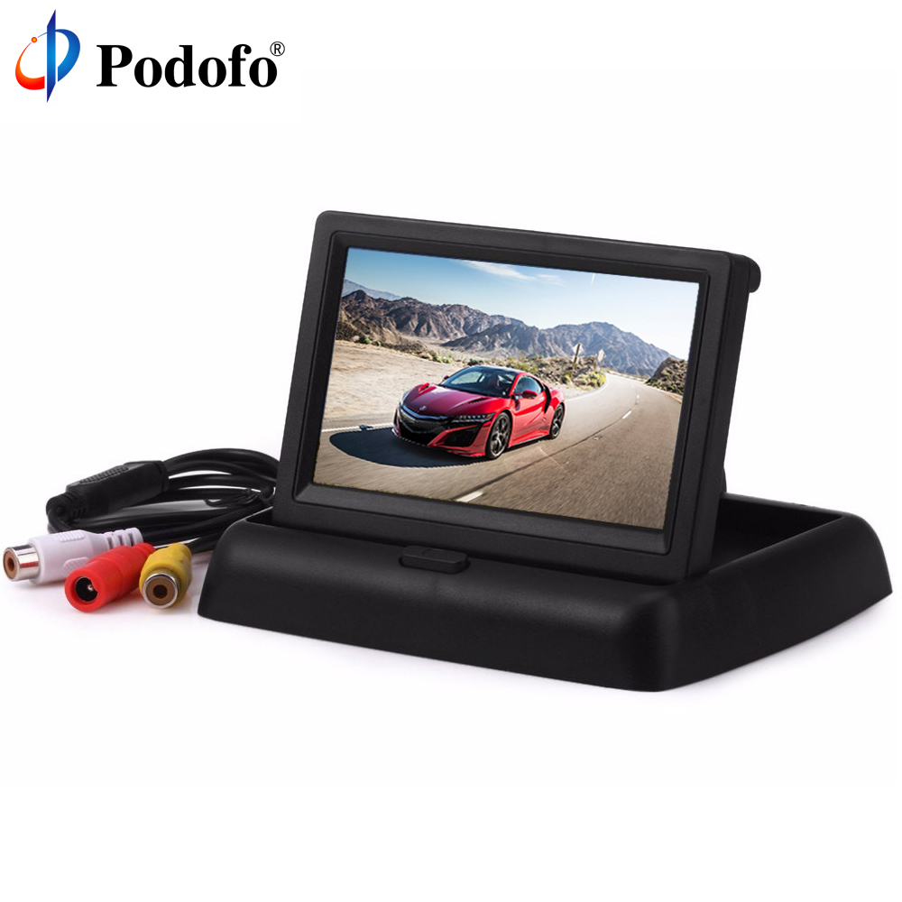 Podofo 4.3 HD Foldable Car Rear View Monitor LCD TFT Display Screen 2 Way Video Input for Truck Vehicle Reversing Backup Camera