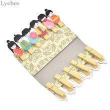 Lychee Japanese Kimono Doll Wooden Clip For Birthday Party Seat Clip Home Room Day Baby Accessories Cloth Clip(China)
