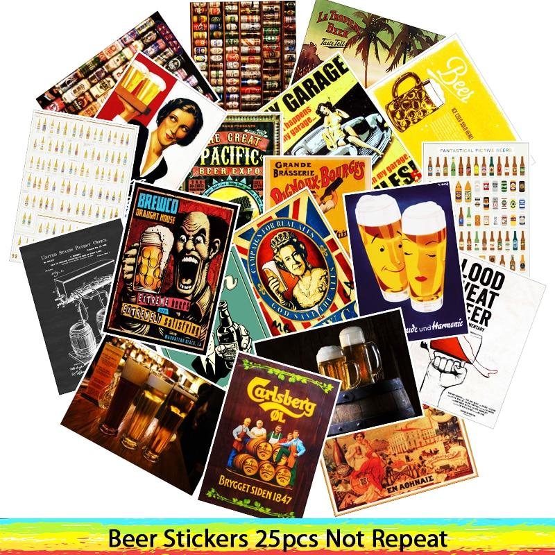 25 Pcs Beer Sticker For Guitar Suitcase Fridge Laptop Stickers Waterproof Toy Sticker