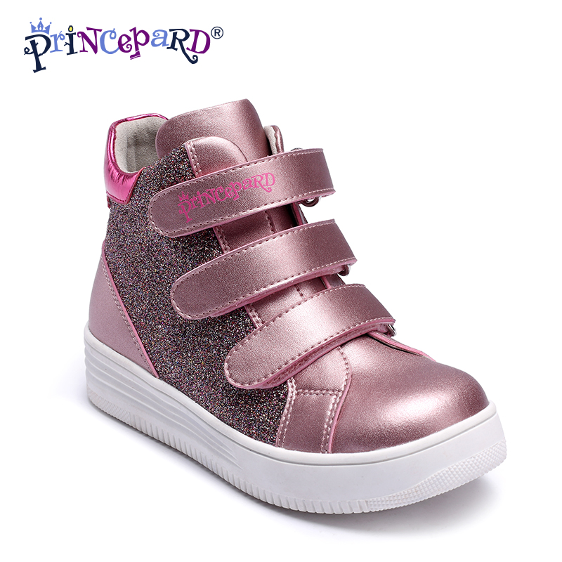 Princepard Children girls bright pink leather casual shoes kids stiff orthotic boots orthopedic kids footwear for girls