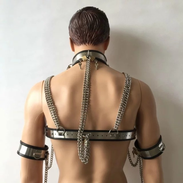 7pcs/set stainless steel male chastity belt bdsm bondage collar penis ring chastity cage male chastity device handcuffs for sex 15