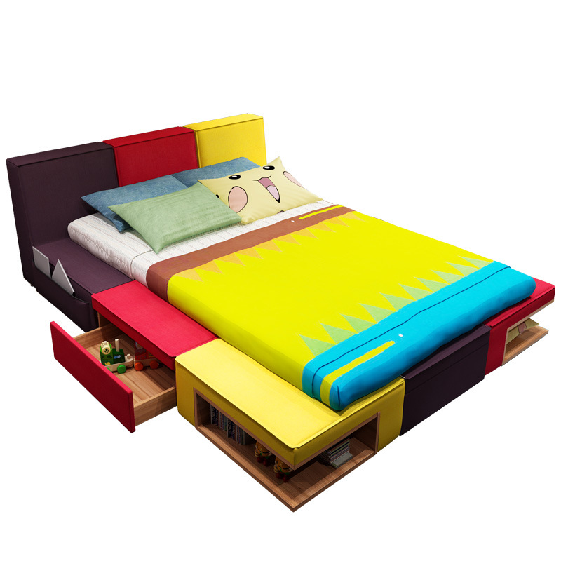 Children's Bed Boy Color Combination Bed Fabric Children Cartoon Bed Bedroom Children's Furniture Suite Bed