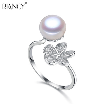 fashion natural pearl rings 925 sterling silver pearl ring adjustable white freshwater pearl ring butterfuly women birthday gift Fashion 9-10mm Natural freshwater 925 sterling silver pearl flowerl ring bread round pearl wedding bands ring for women jewelry