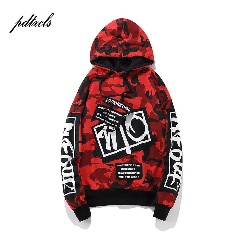2018 Neue Aufnäher Camouflage Hoodies Herren Herbst Designs Camo Gedruckt Ärmel Pullover Sweatshirts Männliche Hip-hop-losen Streetwear