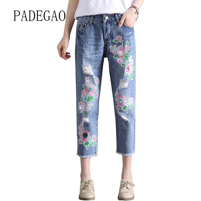 f2cece5194 Flower Printed Jeans For Women Mujer Female Push Up Girl Womens Boyfriends  Denim Femme Feminino Woman Pants