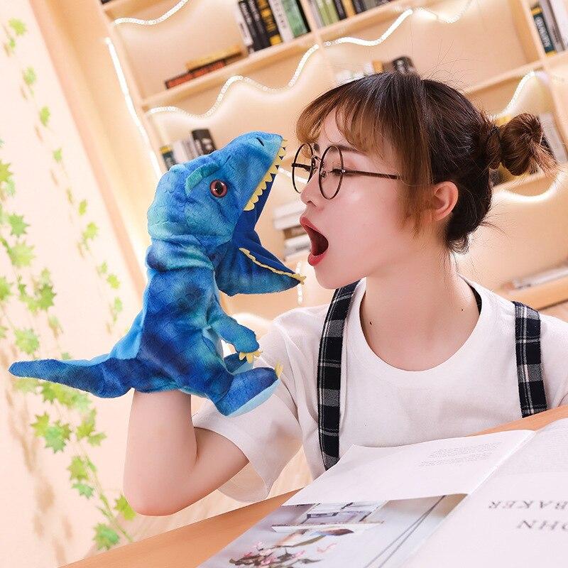 Hot 1 pc 30 centímetros Bonito Carton Animal Fantoche de Mão Brinquedos de Pelúcia Bonecos de Dinossauro Kawaii Boneca para o Bebê do Aniversário Dos Miúdos presente para As Crianças