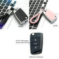 Diamond Alloy Leather Car Key Shell Holder Remote Key Portect Case Cover Keychain For Volkswagen VW