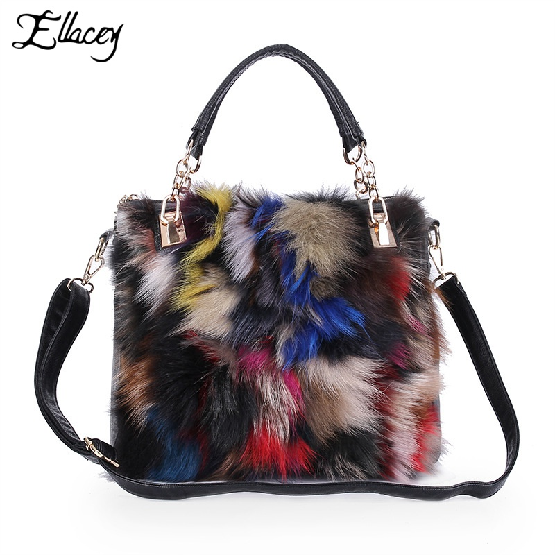 2017 European Style Bag Winter Women Evening Bags For Party Genuine Fox Fur Bag Women Shoulder Messenger Bags Bolsos Mujer Totes women messenger bags day clutches bag designer rabbit fur shoulder bags for party handbags women small evening bags bolsos a0325