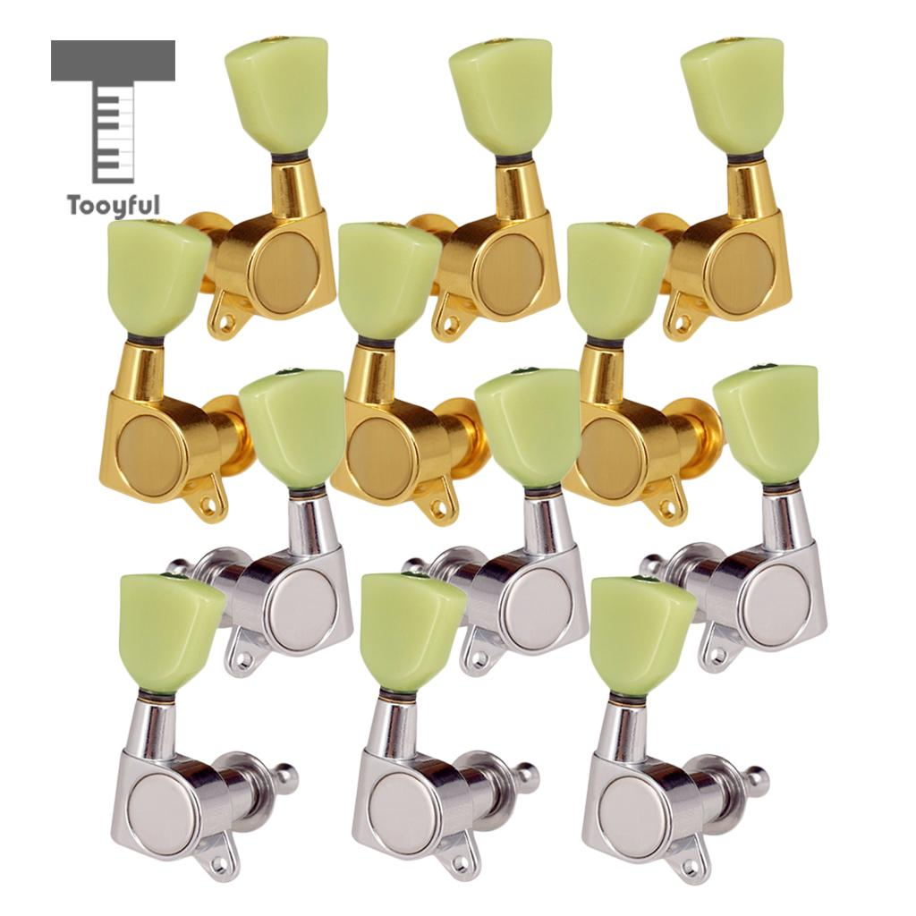 Tooyful 6 Pieces Iron Closed Tuning Pegs Tuning Keys Tuners for Electric Guitar Replacement Parts 3L3R Gold