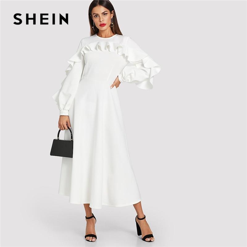 SHEIN Blanc Élégant Office Lady Volant Garniture Évêque Manches Ajustée Et Évasée À Volants Solide Robe Automne Moderne Dame Femmes Robes