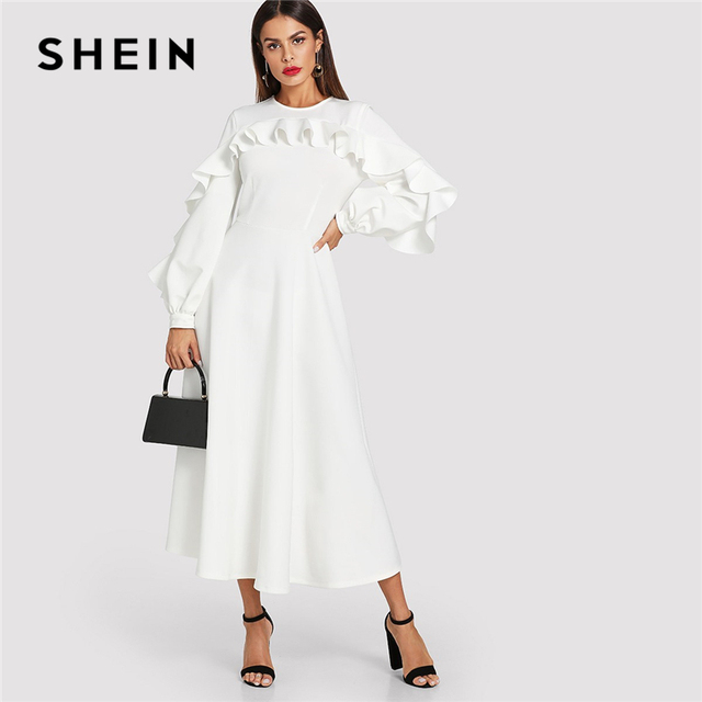 58ce7ef859 SHEIN White Elegant Office Lady Flounce Trim Bishop Sleeve Fit And Flare  Ruffle Solid Dress Autumn Modern Lady Women Dresses