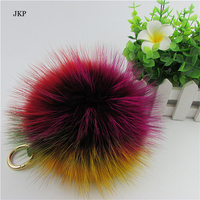 13cm Luxury Fluffy Real Fox Fur Ball Pom Pom Plush Size Genuine Fur Key Chain Keychain