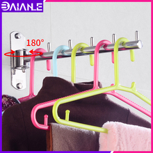 Robe Hooks Stainless Steel Coat Hook Rack Wall Mounted 180 Degree Rotate Bathroom for Towels Key Clothes Hangers Creative