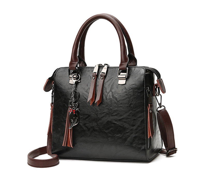 pure leather bag black