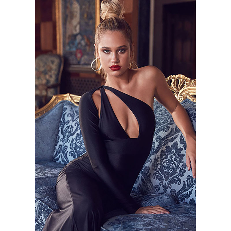 2018 New Spring Bandage Dress Women Celebrity Long Sleeve One-Shoulder Sexy Backless Night Out Party Maxi Dress Women Vestidos club style one shoulder black long beaded sleeve dress for women