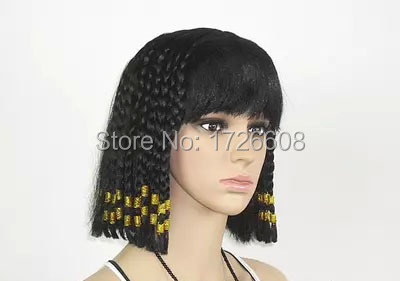 2016 Short Braid Black Cosplay Wigs Egypt Queen Cleopatra Wig with Neat  Bangs braiding hair deluxe halloween christmas Bobo wigs e27d027ef