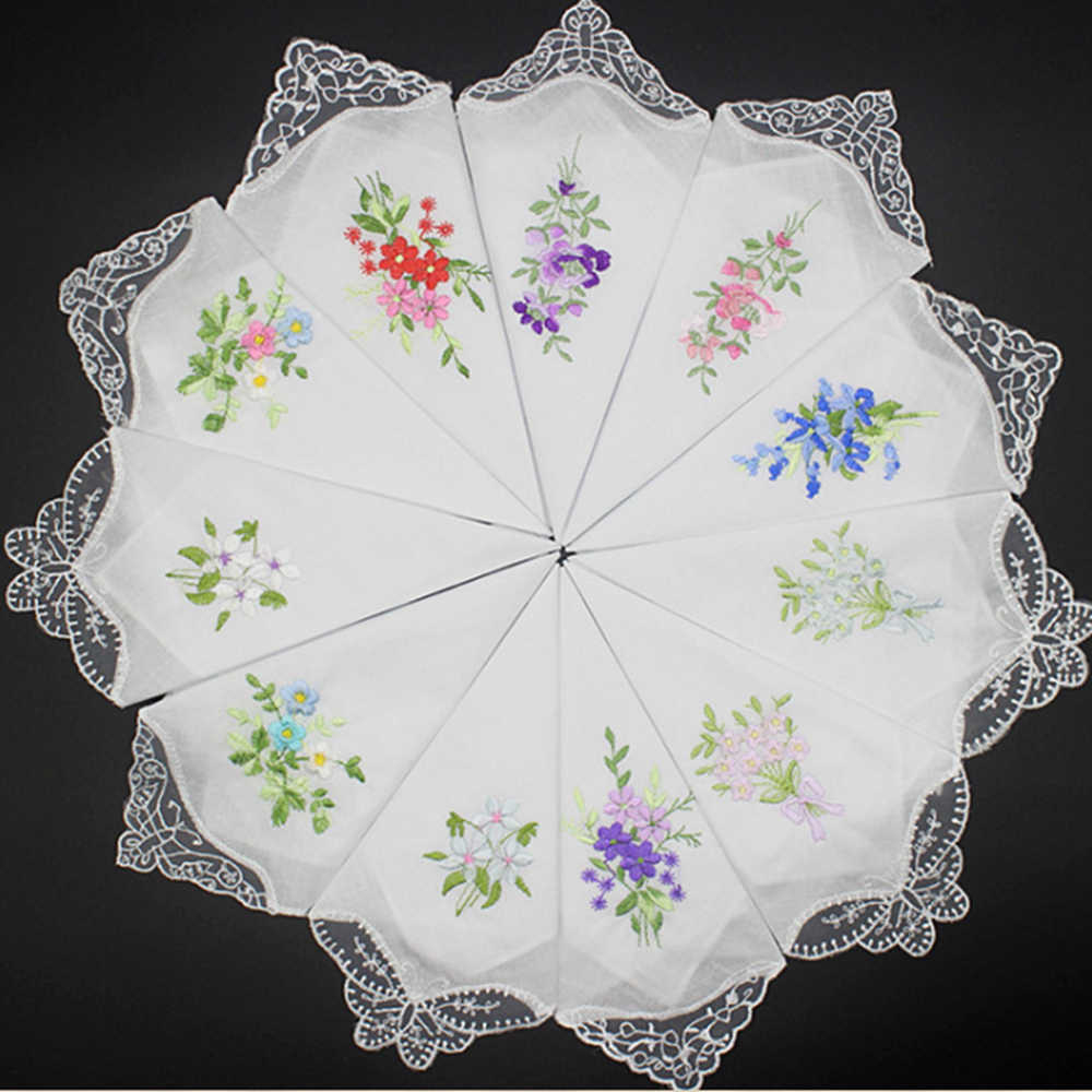 10Pcs/lot Embroidered handkerchief cotton white cotton embroidery lace single side edge handkerchief cotton handkerchief fabric