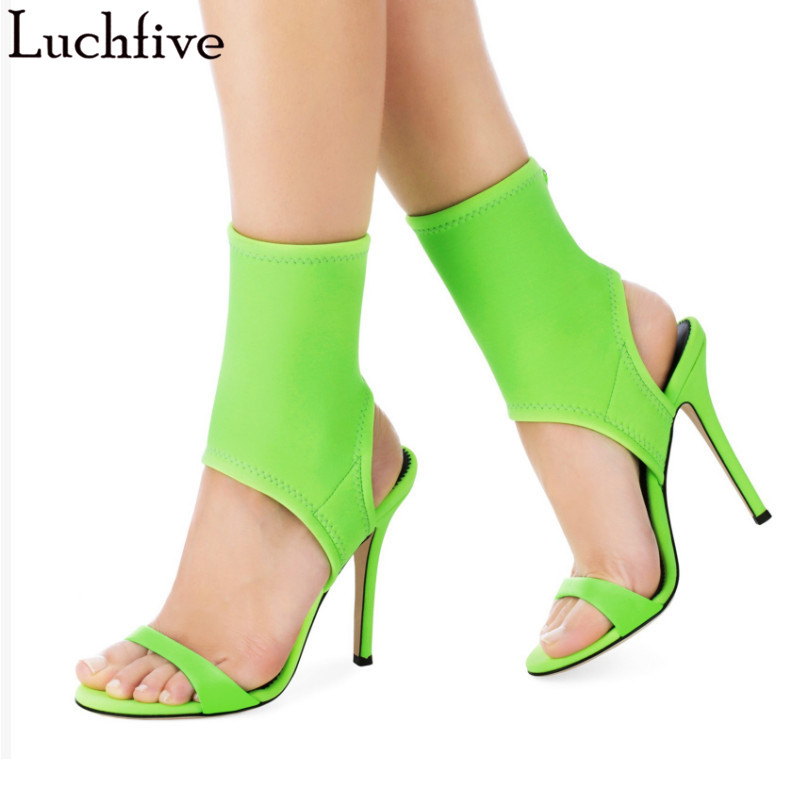 Canday color high heels Ankle Boots for ladies Slip-On open toe summer shoes women 2018 new stretch party sandals feminina