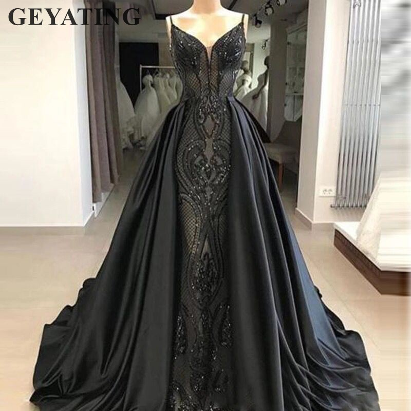 Saudi Arabic Long Black Mermaid   Evening     Dress   with Detachable Skirt Spaghetti Straps Sequin Embroidery Dubai Formal Prom   Dresses