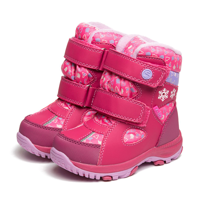 FLAMINGO Waterproof Warm Winter Snow Boots Wool Orthotic Arch Support Anti-slip Size 23-28 Kids Shoes for Girl 82M-QK-0920 flamingo spring leather breathable orthotic arch support hook