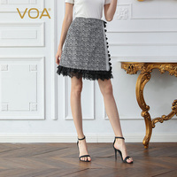 VOA Houndstooth Silk Skirts Women Lace A Line Skirt High Waist Bottom Elegant Ladies Retro Plaid Clothes Fall Large Size C609
